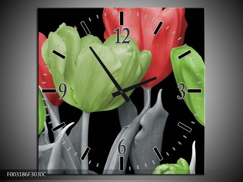 Wandklok op Canvas Tulpen | Kleur: Groen, Grijs, Rood | F003186C