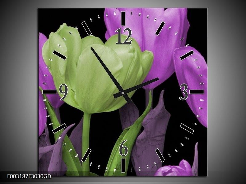 Wandklok op Glas Tulpen | Kleur: Paars, Groen, Zwart | F003187CGD