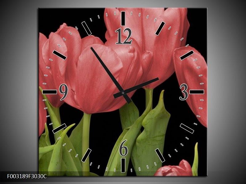 Wandklok op Canvas Tulpen   Kleur: Rood, Groen, Zwart   F003189C