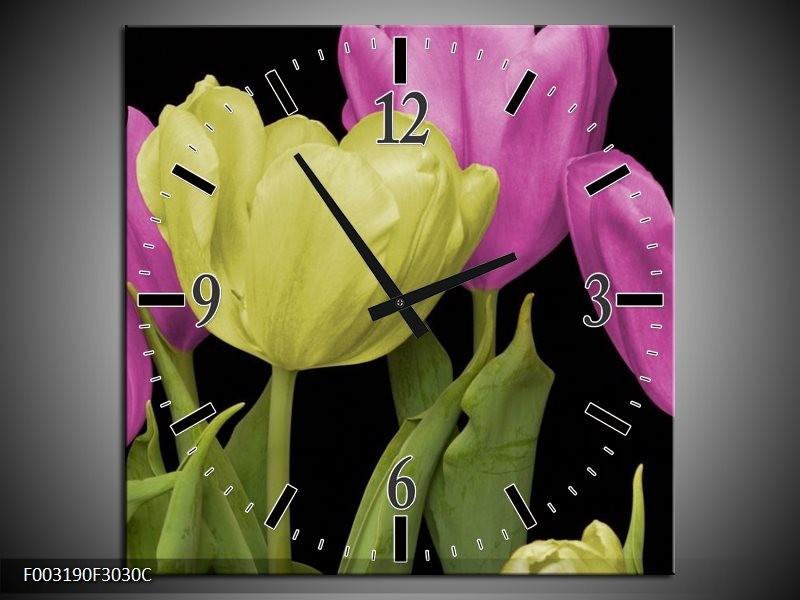Wandklok op Canvas Tulpen | Kleur: Paars, Groen, Zwart | F003190C