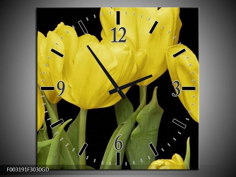 Wandklok op Glas Tulpen | Kleur: Geel, Groen, Zwart | F003191CGD
