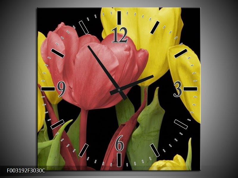Wandklok op Canvas Tulpen | Kleur: Roze, Geel, Groen | F003192C
