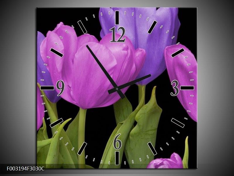 Wandklok op Canvas Tulpen | Kleur: Paars, Blauw, Groen | F003194C