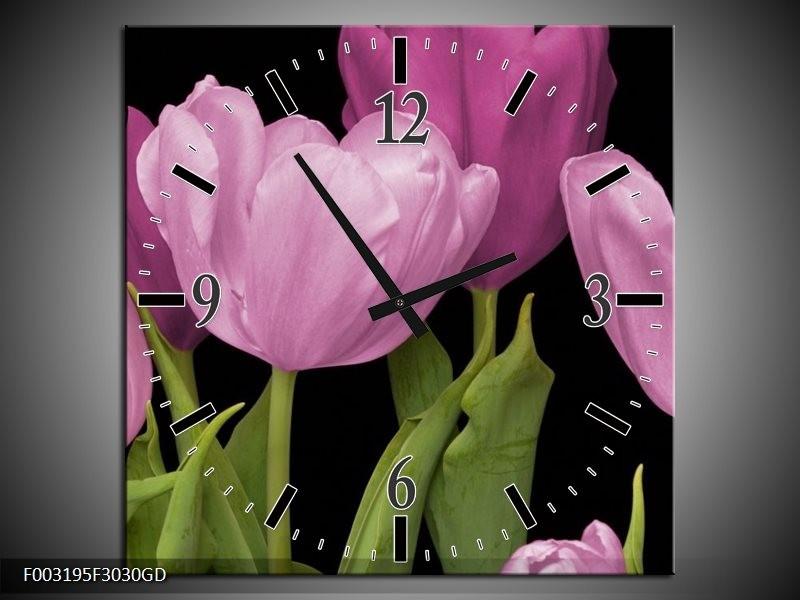 Wandklok op Glas Tulpen | Kleur: Paars, Groen, Zwart | F003195CGD