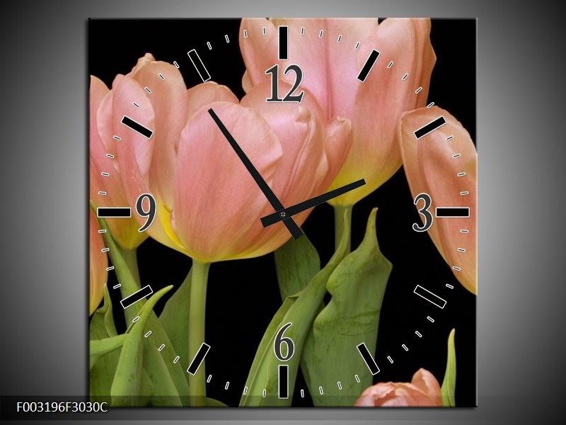 Wandklok op Canvas Tulpen   Kleur: Roze, Groen, Zwart   F003196C