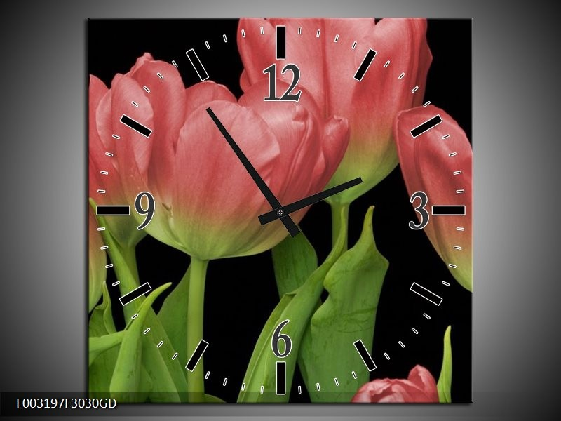 Wandklok op Glas Tulpen   Kleur: Rood, Groen, Zwart   F003197CGD