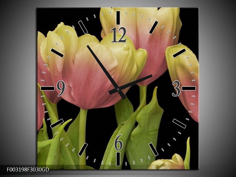 Wandklok op Glas Tulpen | Kleur: Roze, Zwart, Wit | F003198CGD
