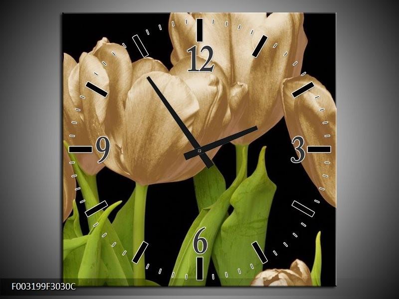 Wandklok op Canvas Tulpen | Kleur: Goud, Groen, Zwart | F003199C