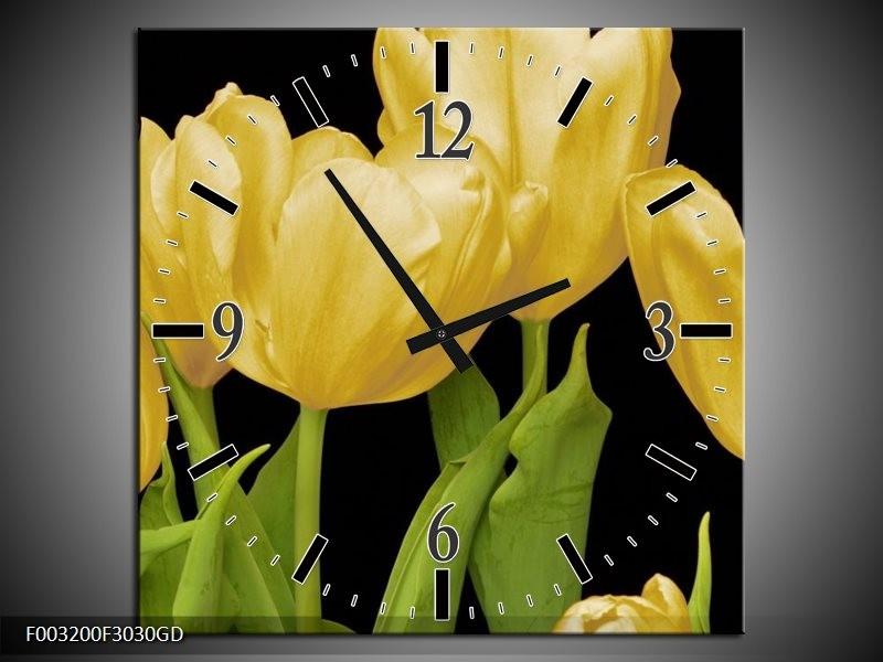 Wandklok op Glas Tulpen | Kleur: Geel, Groen, Zwart | F003200CGD