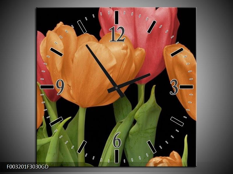 Wandklok op Glas Tulpen   Kleur: Oranje, Rood, Groen   F003201CGD