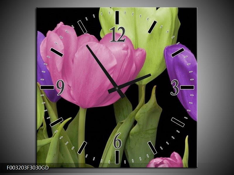 Wandklok op Glas Tulpen | Kleur: Paars, Groen, Roze | F003203CGD