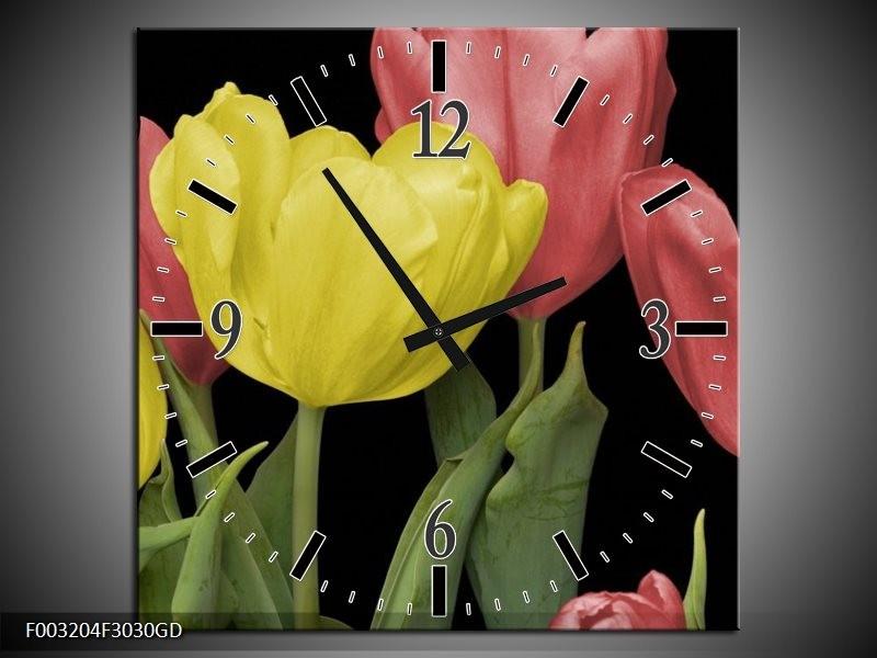 Wandklok op Glas Tulpen | Kleur: Geel, Rood, Zwart | F003204CGD