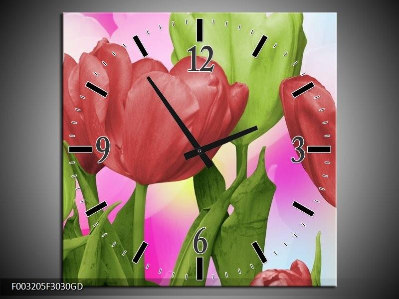 Wandklok op Glas Tulpen | Kleur: Rood, Groen, Paars | F003205CGD