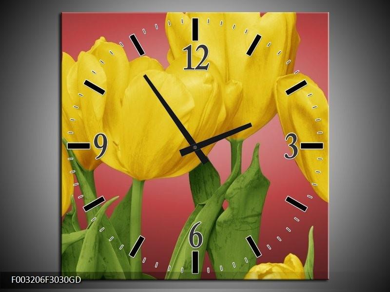Wandklok op Glas Tulpen | Kleur: Geel, Rood, Groen | F003206CGD