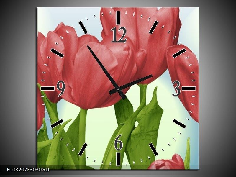 Wandklok op Glas Tulpen | Kleur: Rood, Groen, Blauw | F003207CGD