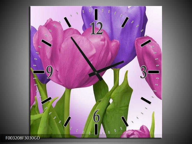 Wandklok op Glas Tulpen   Kleur: Paars, Roze, Groen   F003208CGD