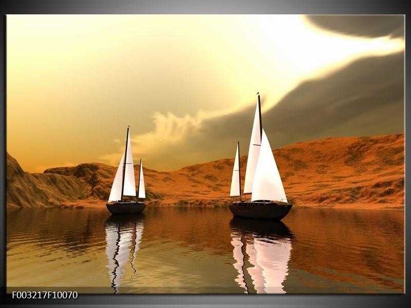 Foto canvas schilderij Zeilboot | Bruin, Wit, Grijs
