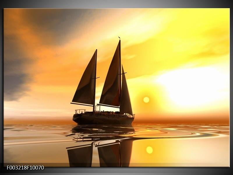 Foto canvas schilderij Zeilboot | Geel, Bruin, Wit