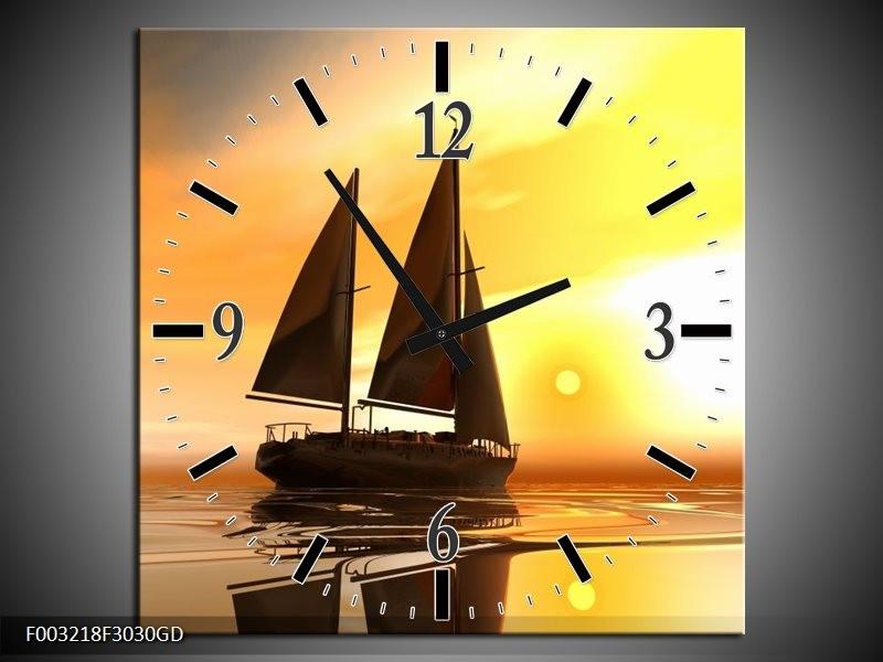Wandklok op Glas Zeilboot   Kleur: Geel, Bruin, Wit   F003218CGD