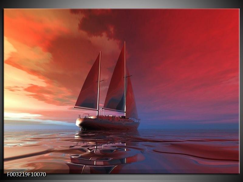 Foto canvas schilderij Zeilboot | Rood, Blauw, Geel