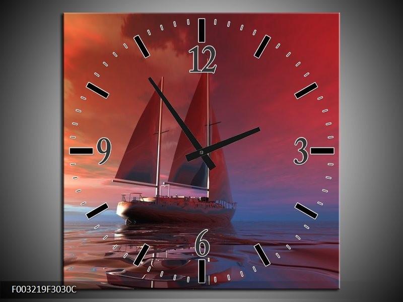 Wandklok op Canvas Zeilboot   Kleur: Rood, Blauw, Geel   F003219C