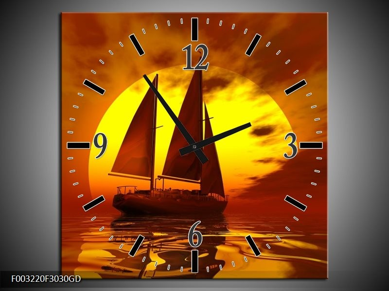 Wandklok op Glas Zeilboot | Kleur: Geel, Rood, Bruin | F003220CGD