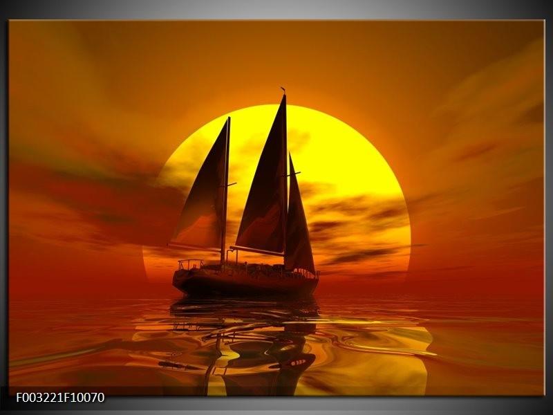 Foto canvas schilderij Zeilboot | Geel, Rood, Bruin