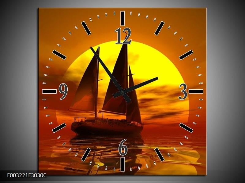 Wandklok op Canvas Zeilboot   Kleur: Geel, Rood, Bruin   F003221C