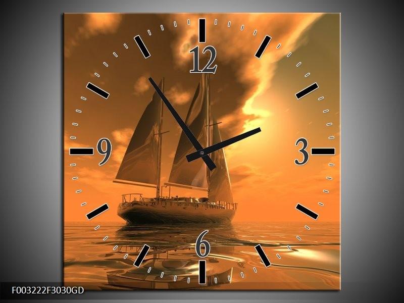 Wandklok op Glas Zeilboot   Kleur: Bruin, Geel, Grijs   F003222CGD