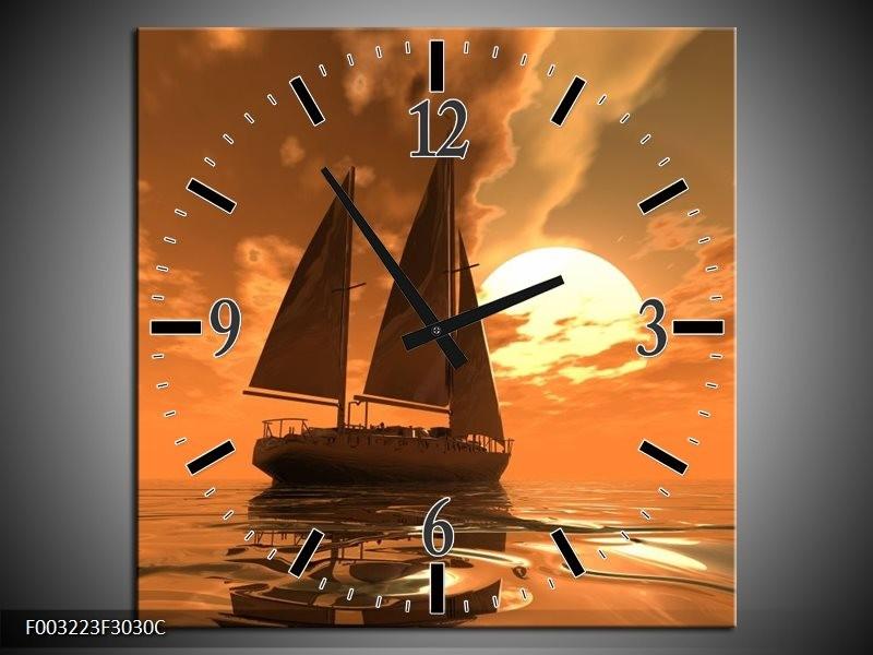 Wandklok op Canvas Zeilboot | Kleur: Bruin, Geel, Grijs | F003223C