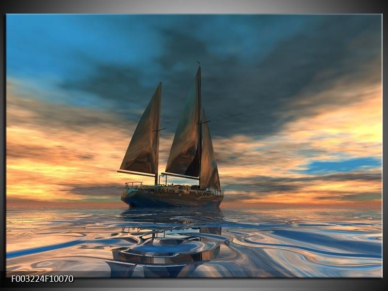 Foto canvas schilderij Zeilboot | Blauw, Geel, Grijs