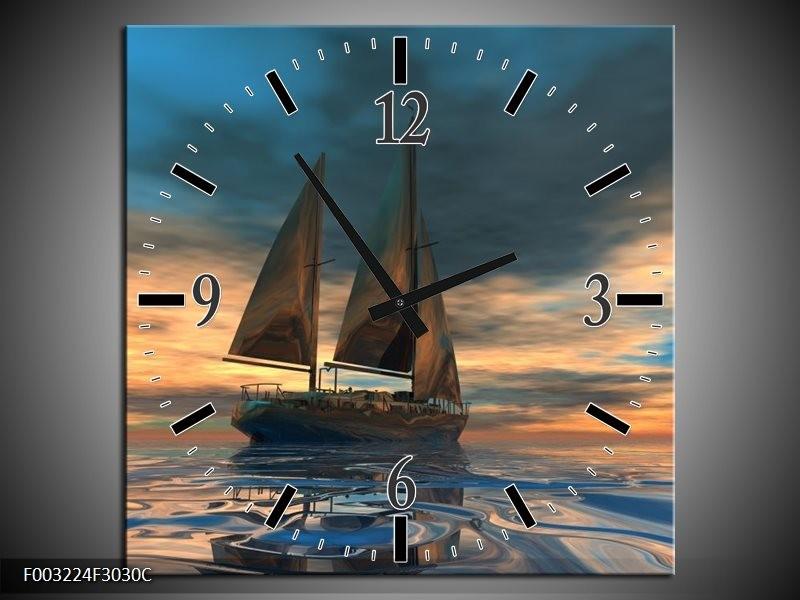 Wandklok op Canvas Zeilboot | Kleur: Blauw, Geel, Grijs | F003224C