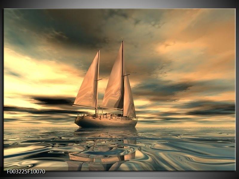 Foto canvas schilderij Zeilboot | Geel, Wit, Grijs