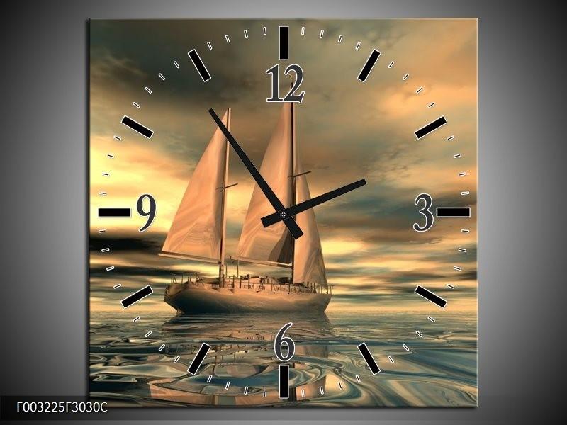Wandklok op Canvas Zeilboot | Kleur: Geel, Wit, Grijs | F003225C