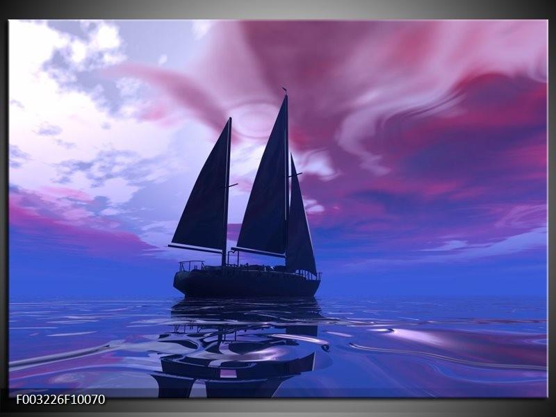 Foto canvas schilderij Zeilboot | Blauw, Paars, Zwart