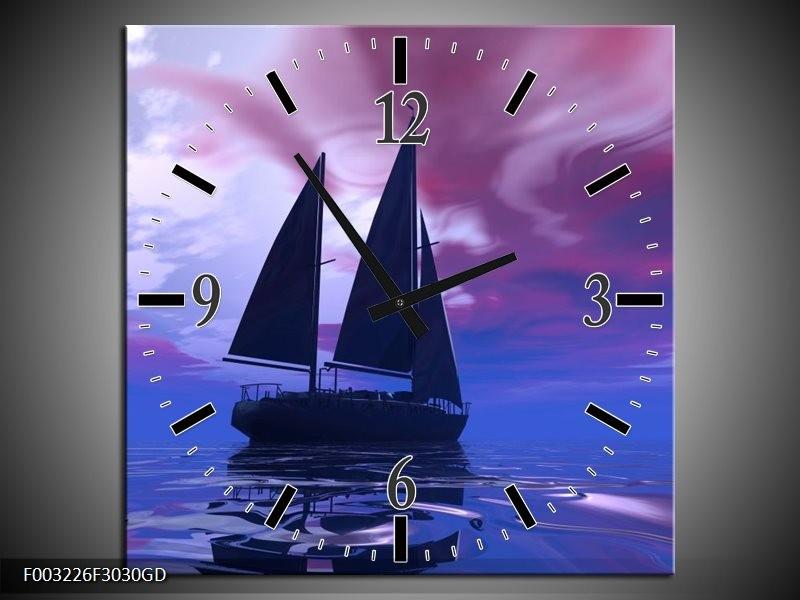 Wandklok op Glas Zeilboot | Kleur: Blauw, Paars, Zwart | F003226CGD