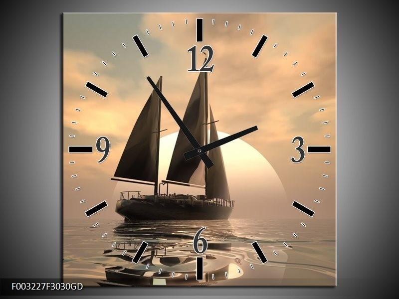 Wandklok op Glas Zeilboot | Kleur: Wit, Grijs, Bruin | F003227CGD