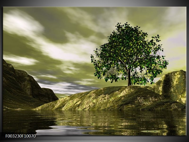 Glas schilderij natuur groen grijs wit groepart for Schilderij natuur