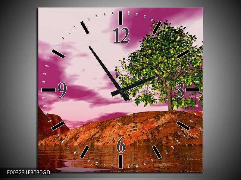 Wandklok op Glas Natuur | Kleur: Groen, Paars, Roze | F003231CGD