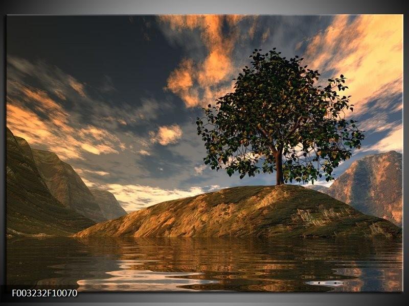 Foto canvas schilderij natuur grijs blauw wit for Schilderij natuur