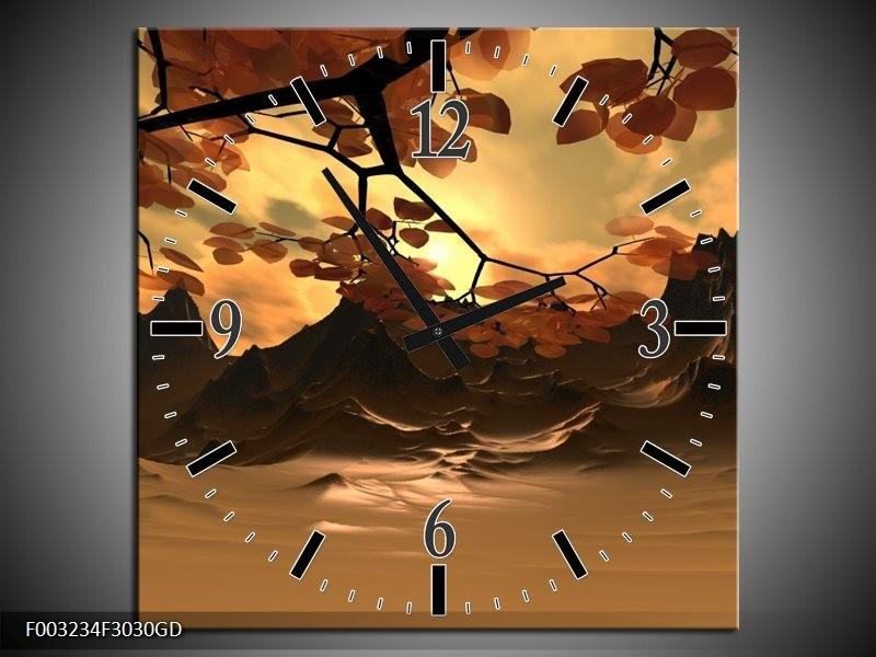 Wandklok op Glas Natuur | Kleur: Bruin, Wit, Geel | F003234CGD