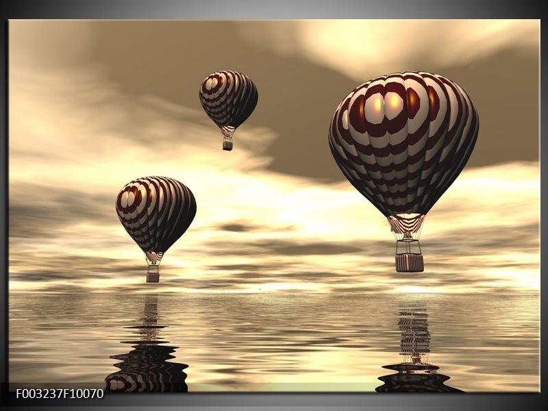 Foto canvas schilderij Luchtballon | Bruin, Grijs, Wit