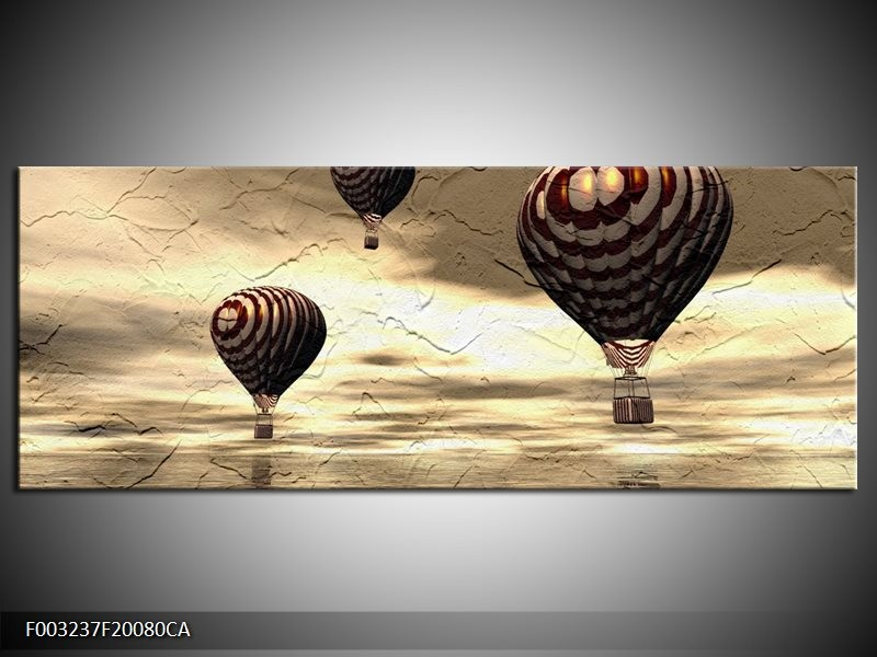 Canvas ART schilderij Luchtballon | Bruin, Grijs, Wit | 200x80cm 1Luik