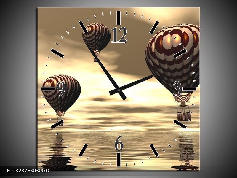 Wandklok op Glas Luchtballon | Kleur: Bruin, Grijs, Wit | F003237CGD