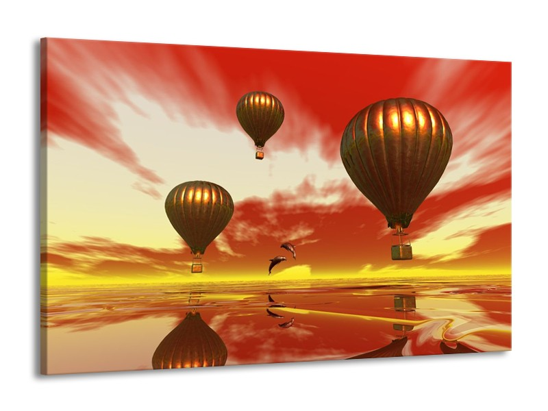 Glas schilderij Luchtballon   Geel, Goud, Rood   140x90cm 1Luik