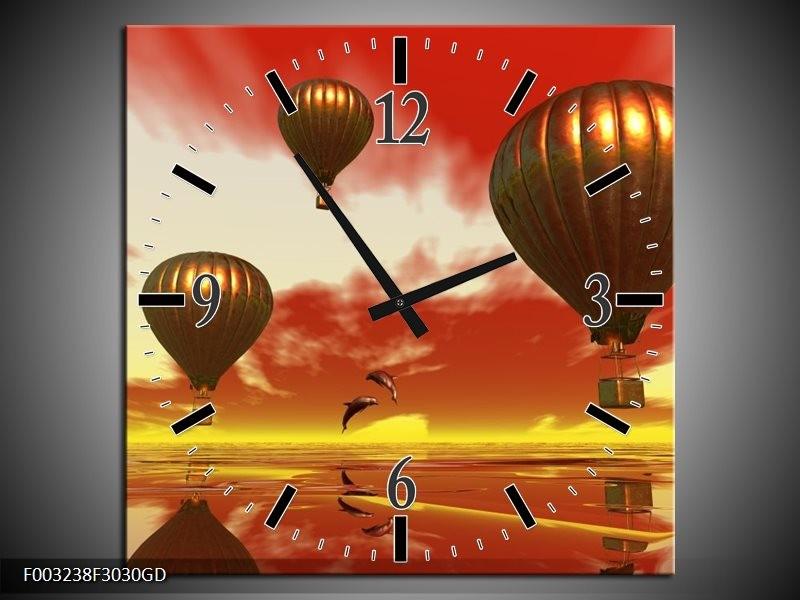 Wandklok op Glas Luchtballon | Kleur: Geel, Goud, Rood | F003238CGD