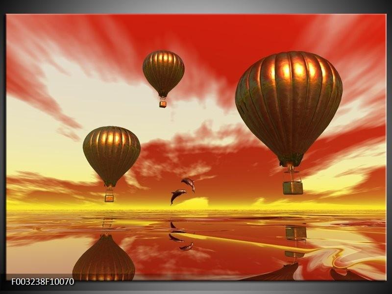 Glas schilderij Luchtballon | Geel, Goud, Rood