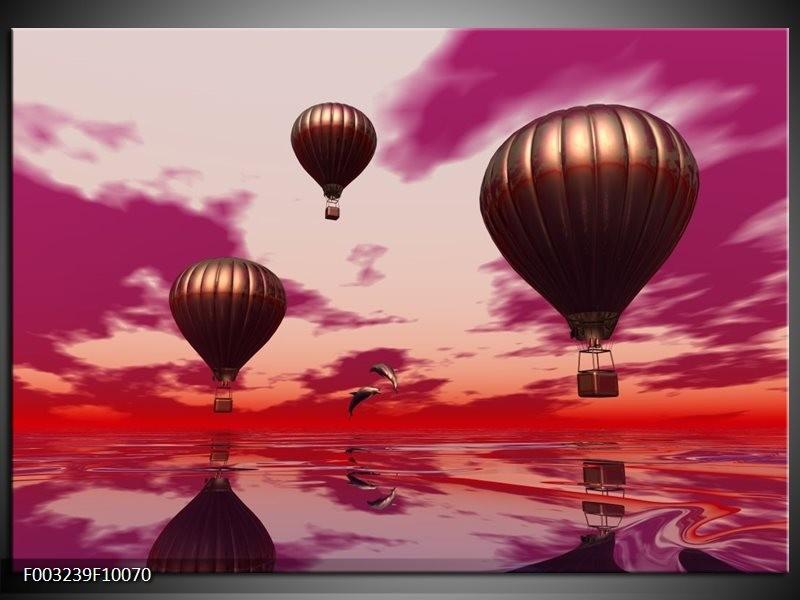 Glas schilderij Luchtballon | Paars, Rood, Grijs
