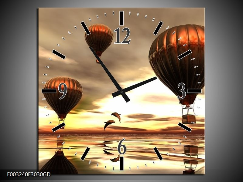 Wandklok op Glas Luchtballon | Kleur: Grijs, Bruin, Wit | F003240CGD