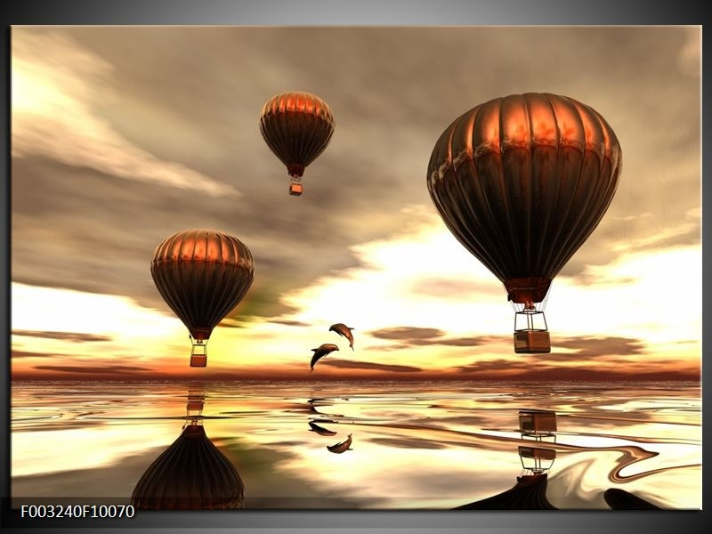 Glas schilderij Luchtballon | Grijs, Bruin, Wit